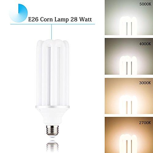 250 Watt Equivalent 28 Watt Corn Lamp Bulb E26 Medium Base and E39 Mogul Base Adapter,3000K Soft White 360 Degree Flood Bulb 120 Volt 3080 Lumens for Street Lamp, Path, Factory, Wall Light, Backyard