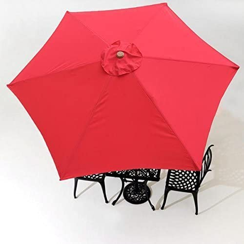 BELLRINO Replacement Umbrella Canopy for 9ft 6 Ribs RED Canopy Only