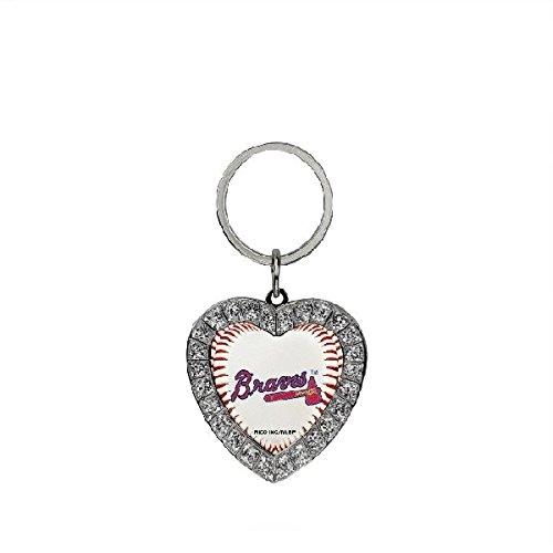 Rico MLB Atlanta Braves Rhinestone Heart Keychain