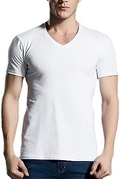 Camisetas para Hombre Algodón Manga Corta Cuello en V Camisetas ...