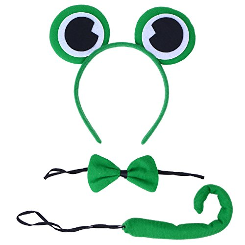 LUOEM Green Frog Headband Ears Bow Tie Toad Fancy Dress Set Costume Headband Ear with Tail Tie for Party Cosplay Costume, Pack of 3 ()