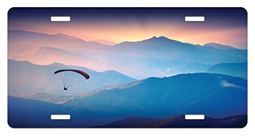 zaeshe3536658 Sports License Plate, Paraglide Flying over Majestic Mountains Morning Valley Sunrise Sports Freedom Theme, High Gloss Aluminum Novelty Plate, 6 X 12 Inches, Blue Pink by zaeshe3536658