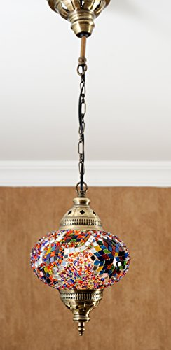 Turkish Moroccan Mosaic Glass Handmade Ceiling Pendant Fixture Hanging Lamp Light,7 Colorful