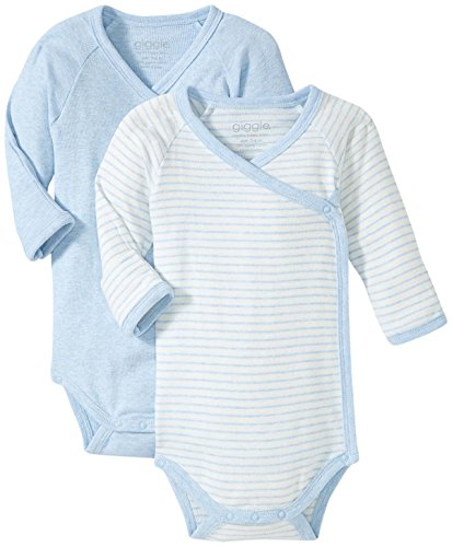 Giggle Long Sleeve Baby Body Set Of 2, Blue Heather, 0-3 (Organic L/s Bodysuit)