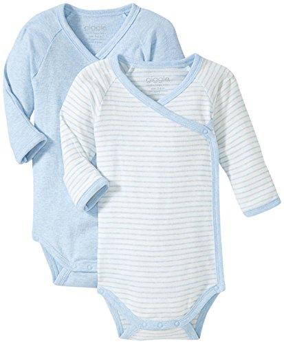 Giggle Long Sleeve Baby Body Set Of 2, Blue Heather, 0-3 (Organic L/s Bodysuit)