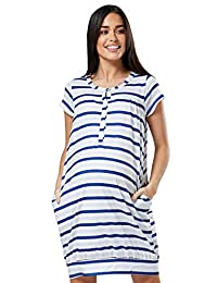 HAPPY MAMA Womens Maternity Labor Delivery Hospital Gown Printed Nightshirt 537p