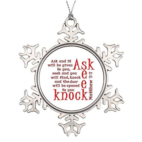 (OneMtoss Christmas Snowflake Ornament Personalised Christmas Tree Decoration Scripture Ask Seek Knock Stained Glass Snowflake)