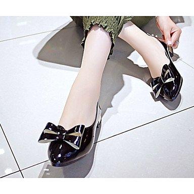 Cómodo y elegante soporte de zapatos de las mujeres pisos caída Pointed Toe Casual sintética soporte de tacón con lazo negro/rojo/Beige Otros negro