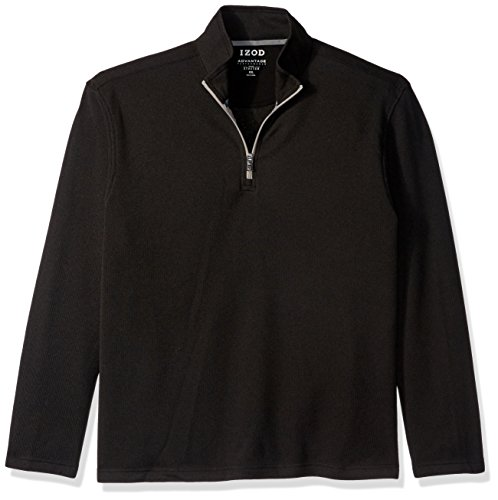 1/4 Zip Fleece Sweatshirt (IZOD Men's Spectator 1/4 Zip Sweater Fleece, Black Heather, Medium)