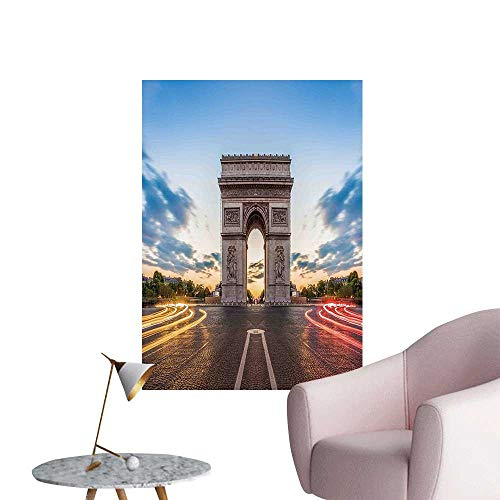 (Wall Decals Famous Champs Elysees Avenue Historical Monument French Culture Panorama Environmental Protection Vinyl,24