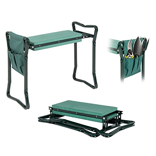 Gardening Seat - Garden Kneeler And Seat - Protects Your Knees, Clothes From Dirt & Grass Stains - Foldable Stool For Ease Of Storage - EVA Foam Pad - Sturdy and Lightweight - Bench Comes With A Free Tool Pouch!