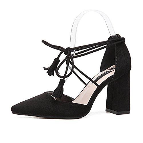 T-juillet Femmes Penny Mocassins Chaussures Mode Casual Rétro Lacets Bout Pointu Gland Mocassin Noir