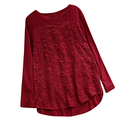 Clearance Fashion Tops for Women - vermers Women Floral Lace Embroidery V-Neck Long Sleeve T Shirt Loose Baggy Blouse(XL, Red) by vermers