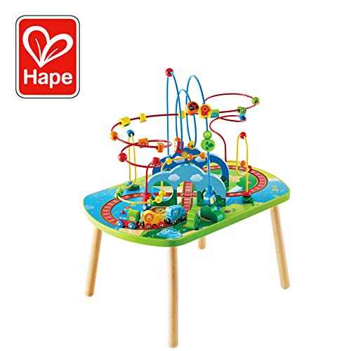 (Hape Jungle Adventure Railway Table | Kids Bead Maze Puzzle Table with Accessories, African Scene Graphics, Child Sized Table for Individual and Group Play)