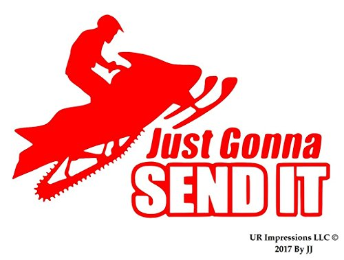 (UR Impressions Red Snowmobile Jumping - Just Gonna Send It Decal Vinyl Sticker Graphics for Cars Trucks SUV Vans Walls Windows Laptop Tablet|RED|6.8 X 4.4 Inch|JJURI113)