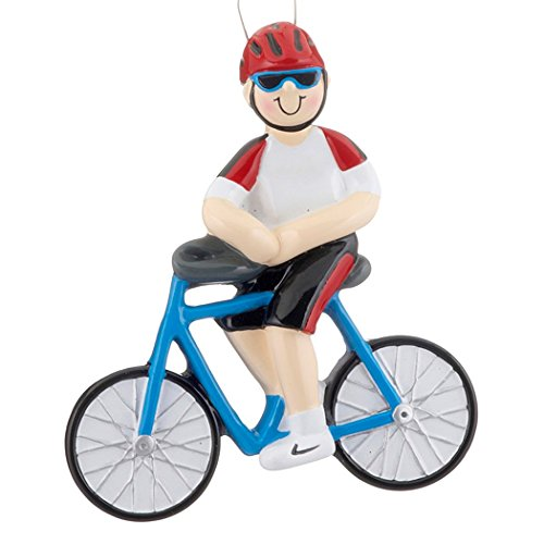 Personalized Bicycle Boy Christmas Tree Ornament 2019 - Bicyclist Man Athlete Red Helmet Ride Bike Race Professional Biking Hobby Sport Holiday Rider Gift Year - Free Customization (Male)