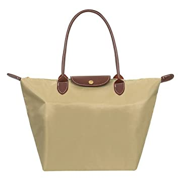 Amazon.com   Designer Nylon Tote Women Handbags Casual Ladies Bags Totes  Dumpling Bag Women Leather Shoulder Bags Fold Beach Bag Bolsos (Khaki)    Baby b8f6b919f9bcd
