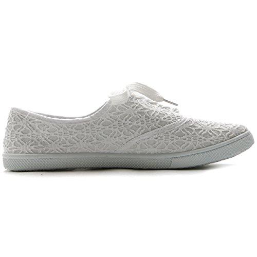 Ollio Damen Ballettschuh Schnürschuh Sneaker Canvas Flat Weiß