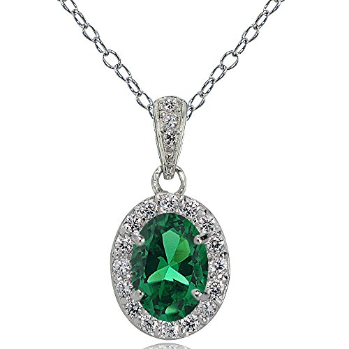 Emerald Pendant Created Oval - Ice Gems Sterling Silver Created Emerald and White Topaz Oval Halo Necklace