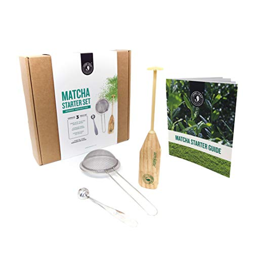 (Jade Leaf - Modern Matcha Starter Set - Electric Aerolatte Frother Matcha Whisk, Stainless Steel Scoop, Stainless Steel Sifter, Preparation Guide)