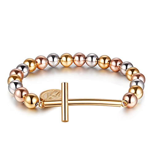 3-Tone (Yellow Gold/Rose Gold/Silver) Beads and Cross Sideway & Saint Maria Charm Bracelet (Silver Tone Yellow Cross)