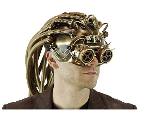 DLX Gold Steampunk Helmet Style Adult Half Mask Alien Predator Compass Goggles -