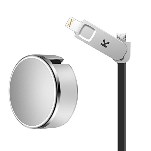 Retractable USB Cable Adapter Silvery, MicroBird 2-in-1 Lightning + Micro Data Sync Charge USB Cable (1.0M) High Speed For iPhone 5s 6 6s 7 8 X Plus,iPad/iPod,Android phone Samsung S7 6 8,HTC and More