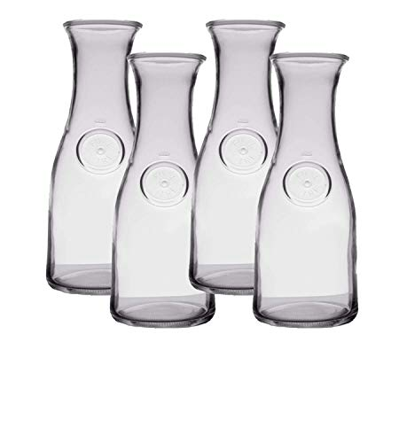 1 Liter Glass Water Carafe  - Elegant Large Wine Pitcher - Tall Decanter for Juice, Milk or Orange - Great Wine Craft for Mimosa Bar or Party, set of 4 - w/coasters ()