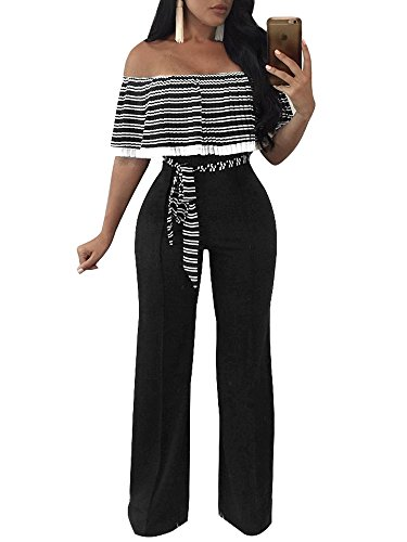 FairBeauty Women Casual Sexy Off Shoulder High Waist Long Pant Wide Leg with Belt Party Jumpsuits Rompers - Ladies Pant Suit