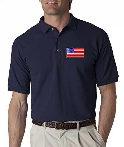 A2S American Flag Chest Logo USA Pride Embroidered Polo Shirt S-3XL 8 Colors - Navy - L