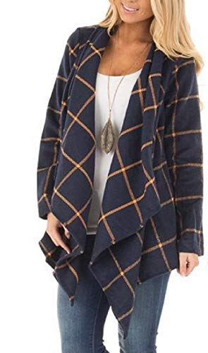 Collar Long Coat Plaid Cardigan Turn Sleeve RkBaoye Woolen Blue Down Women's HqU6pp
