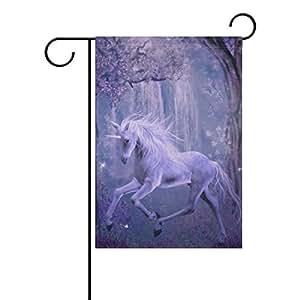 coosun Lila Unicornio en el bosque poliéster Jardín Bandera en exteriores Bandera Home Party Jardín Decoración, doble cara, 12x 18