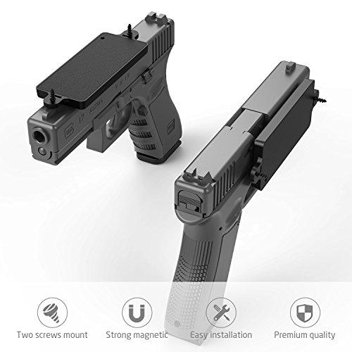 Merssyria Gun Magnet Mount,  Gun Holder Car Truck Wall Vault Desk Holster Accessories Concealed for Handgun Shotgun Rifle Pistol Revolver with 35 lbs Rating
