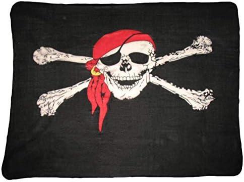 Jolly Roger Calavera W/Bandana Polar Manta * Nuevo * 5 m x 4.2 Ft. Bandera Pirata Calavera & Calavera manta funda: Amazon.es: Jardín