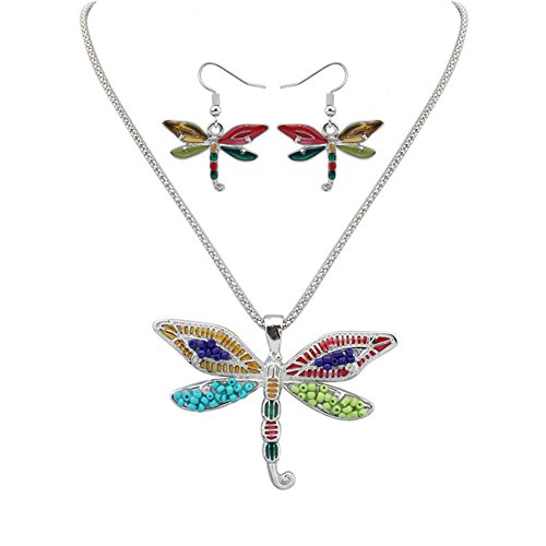 YJEdward Rainbow Dragonfly Jewelry Set Necklace Earrings 18K Gold Plated Gift For Her 2 Pcs ()