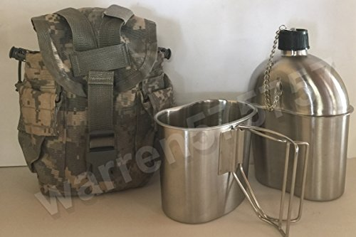 G.I. Style Stainless Steel 1qt. Canteen with Cup. & Genuine G.I. Surplus, ACU MOLLE II Pouch. by G.A.K 90026