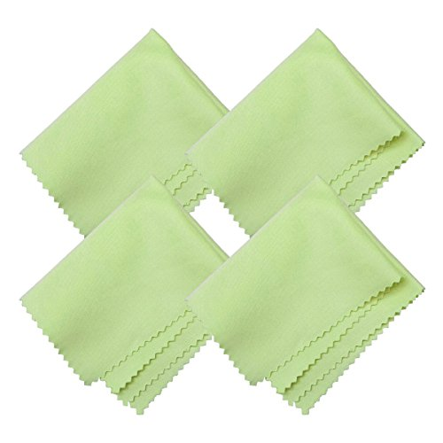 HTTX Microfiber Screen Cleaning Cloths, 4-Pack 6 x 7 inches for Cell Phones, Tablets, LCD TV, Laptop, Camera Lenses, Surface Tablet, Monitor, Car GPS Screens, Spectacles, Glasses, Watches [Green]