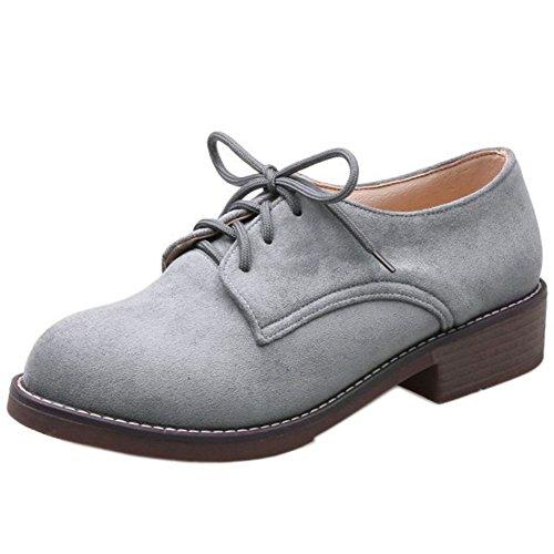 Mujer Tacon cordones Classic Bajos Zapatos RAZAMAZA Grey T0q1T