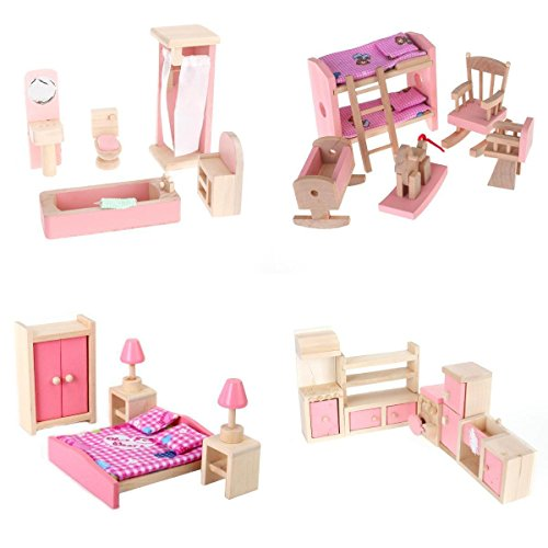 4 Set Dollhouse Furniture Kid Toy Bathroom Kid Room Bedroom Kitchen Set