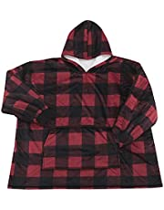 Home Beyond & HB design - Wearable Blanket with Large Pocket - Oversized Soft Warm Fluffy Sherpa Hoodie Blanket Sweatshirt for Men Women Kids - (Red Black Plaid, One Size Fits All)