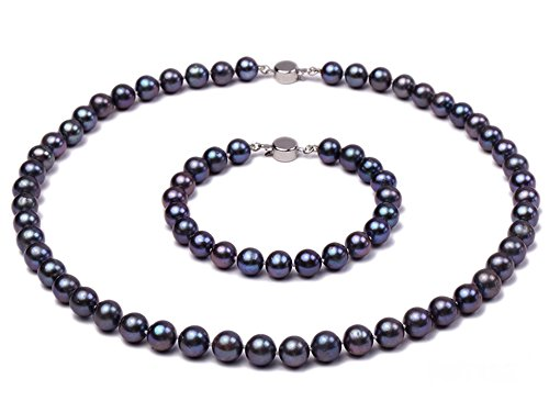 JYX Pearl Necklace Set AA+ Quality 7-8mm Black Freshwater Pearl Necklace and Bracelet Jewelry Set