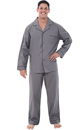 Alexander Del Rossa Men's Pajama Set - Woven Cotton PJs, Long Pants & Sleeves, Small Steel Grey (A0714STLSM)