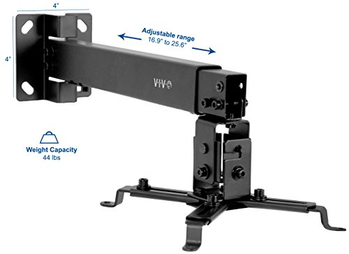 VIVO Black Universal Adjustable Wall Ceiling Projector Mount Bracket Extendable Length Projection (MOUNT-VP06B) by VIVO (Image #1)