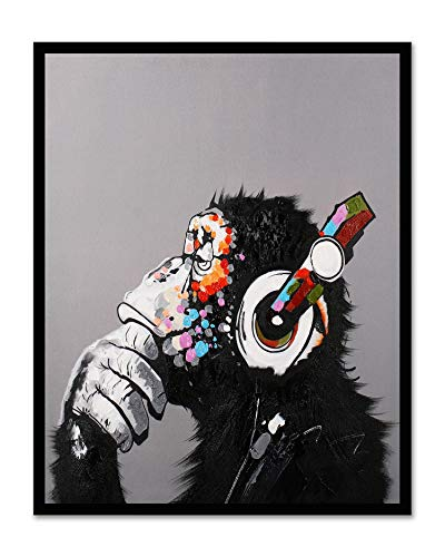 Modern Pop Art Decor - Framed - Thinking Monkey with Headphones Canvas Print Home Decor Wall Art, Black Plastic Frame, 24x30 ()