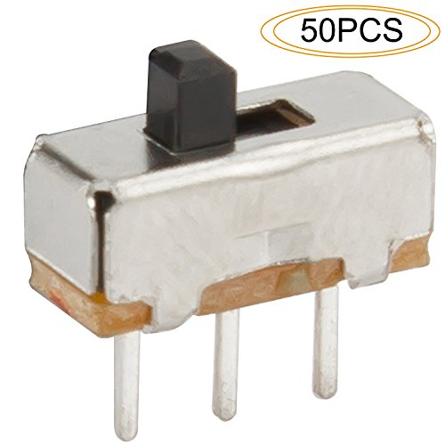 DIYhz 50Pcs High Knob 3 Pin 2 Position 1P2T SPDT Vertical Slide Switch with PCB Panel for Arduino, 0.5 Amp, 50V DC, 2 mm