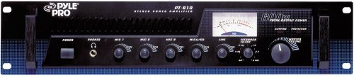 Pyle 5 Channel Home Audio Power Amplifier Mixer w/ 70V Output - 600 Watt Rack Mount Stereo Receiver w/ AM FM Tuner, Headphone, Mic Talkover for PA System Great for Commercial Entertainment Use - PT610