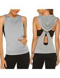 Women Workout Tops Hoodie Sleeveless Cross Open Back Activewear Shirt with Pocket Sexy Sport Tank Top