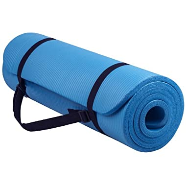 BalanceFrom Go Yoga All Purpose Anti-Tear Exercise Yoga Mat with Carrying Strap, Blue