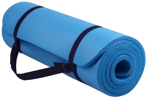 BalanceFrom Go Yoga All Purpose Anti-Tear Exercise Yoga Mat with Carrying Strap, Blue (Exercise Equipment Mat Blue)