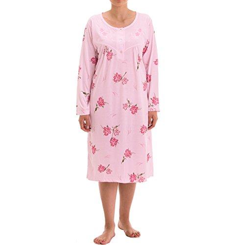 Lucky manga larga noche Camisa con cría Allover Margarita Flores Impresión en colores de moda vestido de noche Rosa